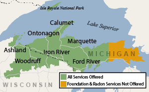 Our Michigan and Wisconsin service area map, showing our services in Ashland and nearby